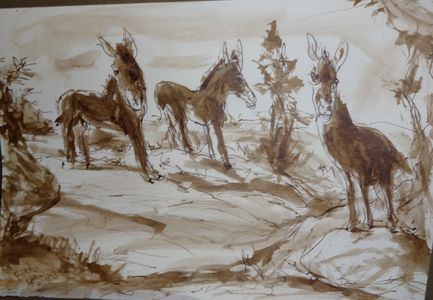 Fred Adell - Wildlife Artist Giraffes and Horses Sepia ink on watercolor paper