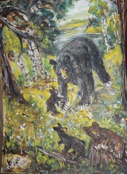 Fred Adell - Wildlife Artist Bears Mixed Media (Ink, watercolor, tempera) on watercolor paper