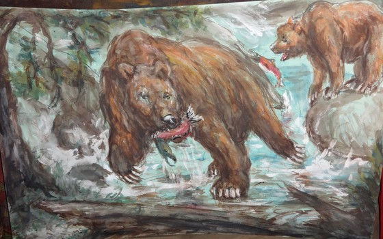 Fred Adell - Wildlife Artist Bears  Mixed Media (Ink, watercolor, tempera) on illustration board