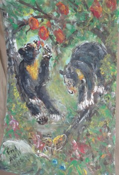 Fred Adell - Wildlife Artist Bears Mixed Media (Ink, watercolor, tempera) on primed cardboard