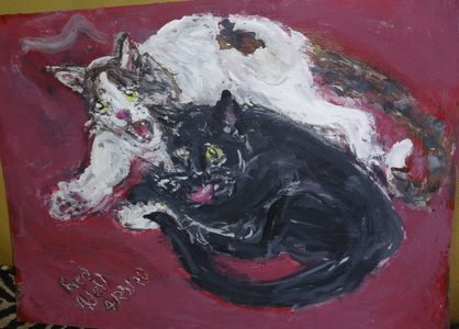 Fred Adell - Wildlife Artist Cats - Domesticated Mixed Media (Ink, watercolor, tempera) on primed (gesso) cardboard