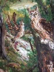 Fred Adell - Wildlife Artist Owls Mixed Media (Ink, watercolor, tempera) on watercolor paper