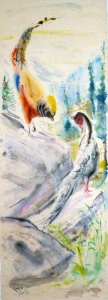 Fred Adell - Wildlife Artist Works on Paper watercolor on rice paper