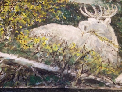 Fred Adell - Wildlife Artist Deer Mixed Media (Ink, watercolor, tempera) on illustration board