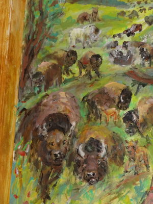 Fred Adell - Wildlife Artist Cattle Acrylic on door panel