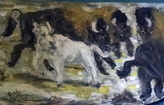 Fred Adell - Wildlife Artist Cattle Mixed Media (Ink, watercolor, tempera) on watercolor paper