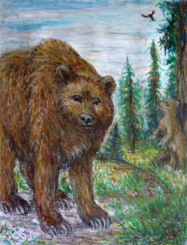 Fred Adell - Wildlife Artist Bears mixed media on paper