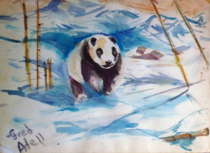 Fred Adell - Wildlife Artist Bears - Pandas watercolor on paper