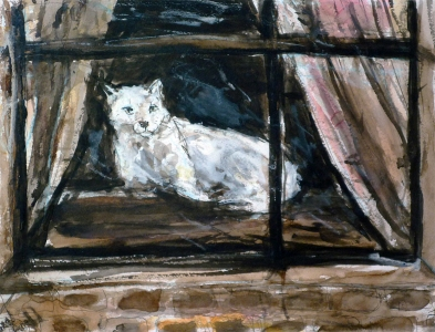 Fred Adell - Wildlife Artist Cats - Domesticated mixed media (ink, watercolor, oil pastel) on paper