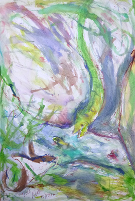 Fred Adell - Wildlife Artist Paintings and Mixed Media Mixed media (ink, watercolor, tempera, oil pastel)