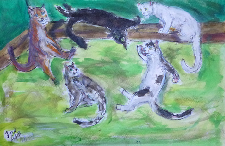 Fred Adell - Wildlife Artist Cats - Domesticated Mixed media (ink, watercolor, tempera, oil pastel)