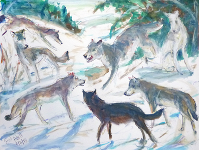 Fred Adell - Wildlife Artist Dogs (wild) and Wolves Mixed media (ink, watercolor, tempera, oil pastel)