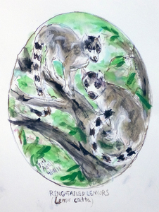 Fred Adell - Wildlife Artist Mammals - Primates Mixed media (ink, watercolor, tempera, oil pastel)