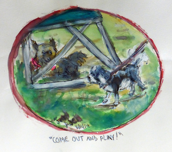 Fred Adell - Wildlife Artist Dogs - Domesticated Mixed Media (ink, watercolor, tempera, oil pastel)
