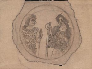 Frohawk Two Feathers works coffee and tea stained cyanotype on linen