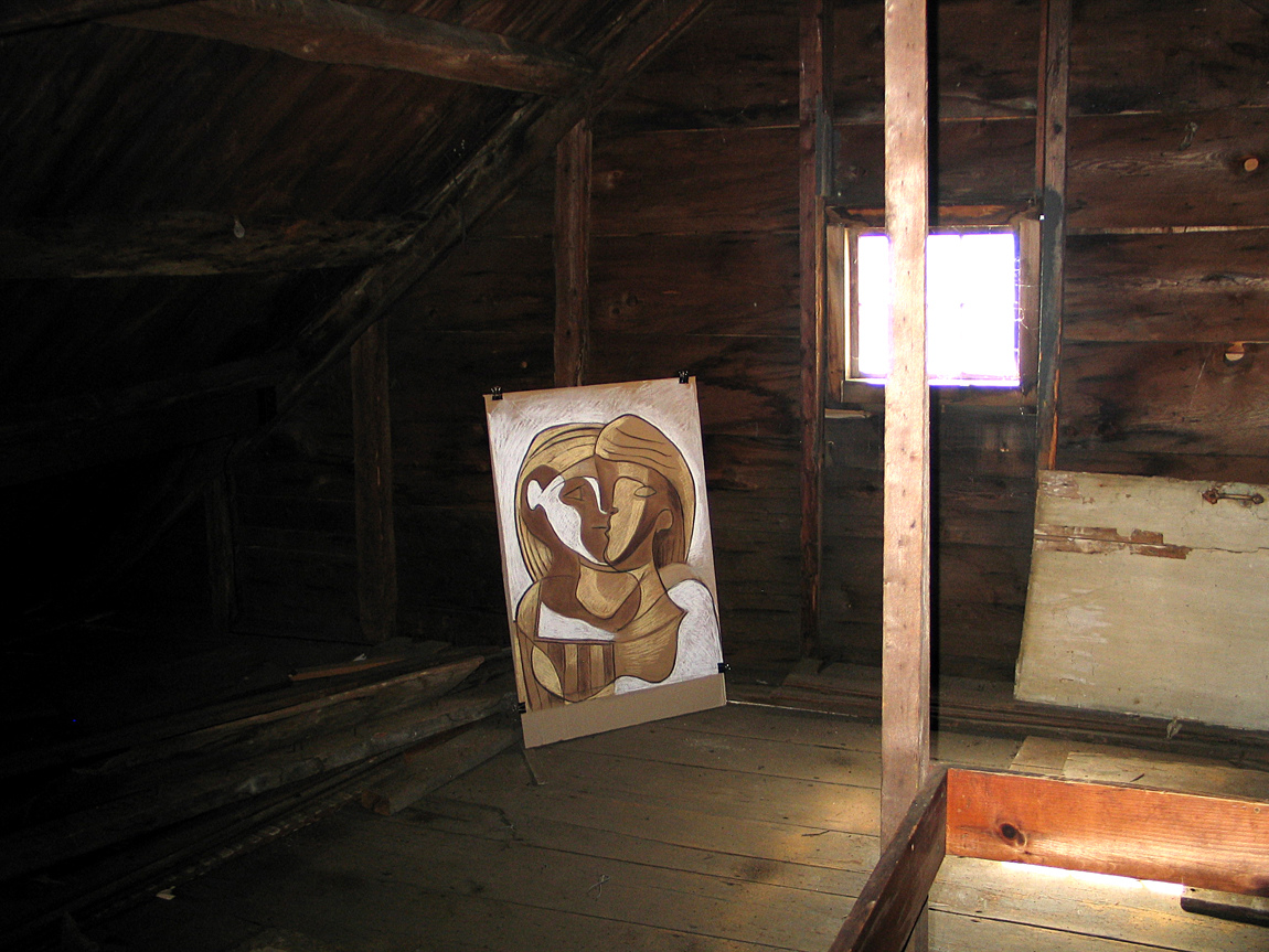 The Picasso Women Visit the White-Ellery House (A Drawing Installation) Attic