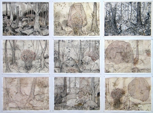 Gabrielle Barzaghi                     DRAWINGS Great Grandmothers Mixed Media