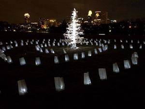 Camille J. Gage Walk of Remembrance luminaria, tree sculpted of wood, LED lights