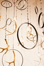 Camille J. Gage Dreams and Light Antlers, wooden hoops, beads