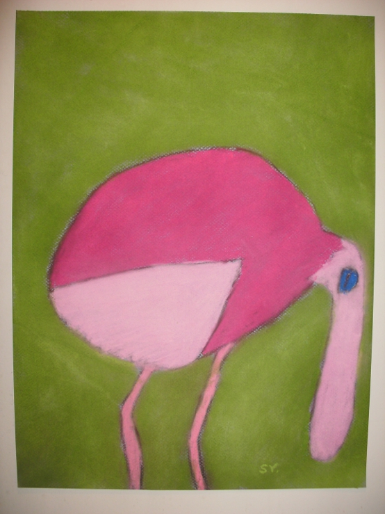 Digital Files of Artists Sheryl Yeager, Pink Tropical Bird, 12x16, Pastels, 2010
