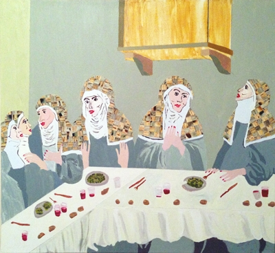"Digital Files of Artists Margot Werner, Ladies Luncheon, 24"" x 24"", acrylic on canvas, 2013"