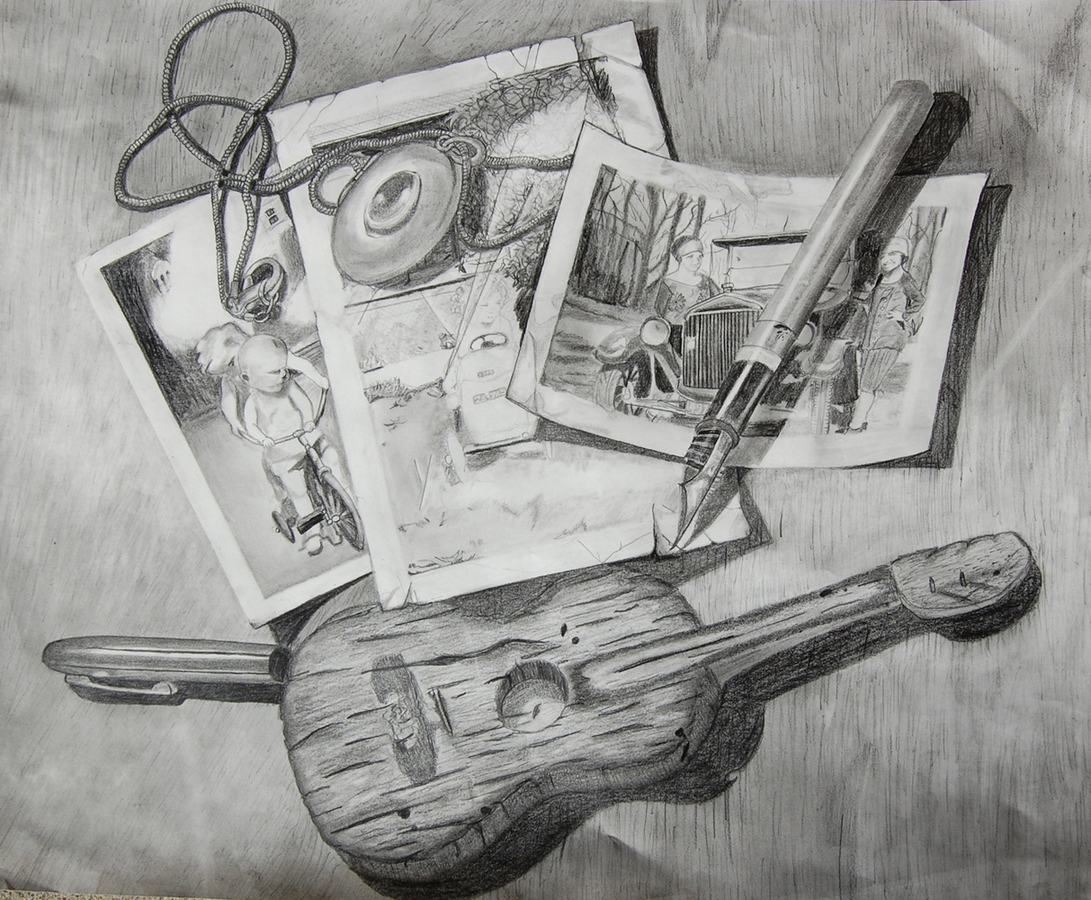 Digital Files of Artists Rachel Atherly, Junk Drawer,  Graphite, 2013