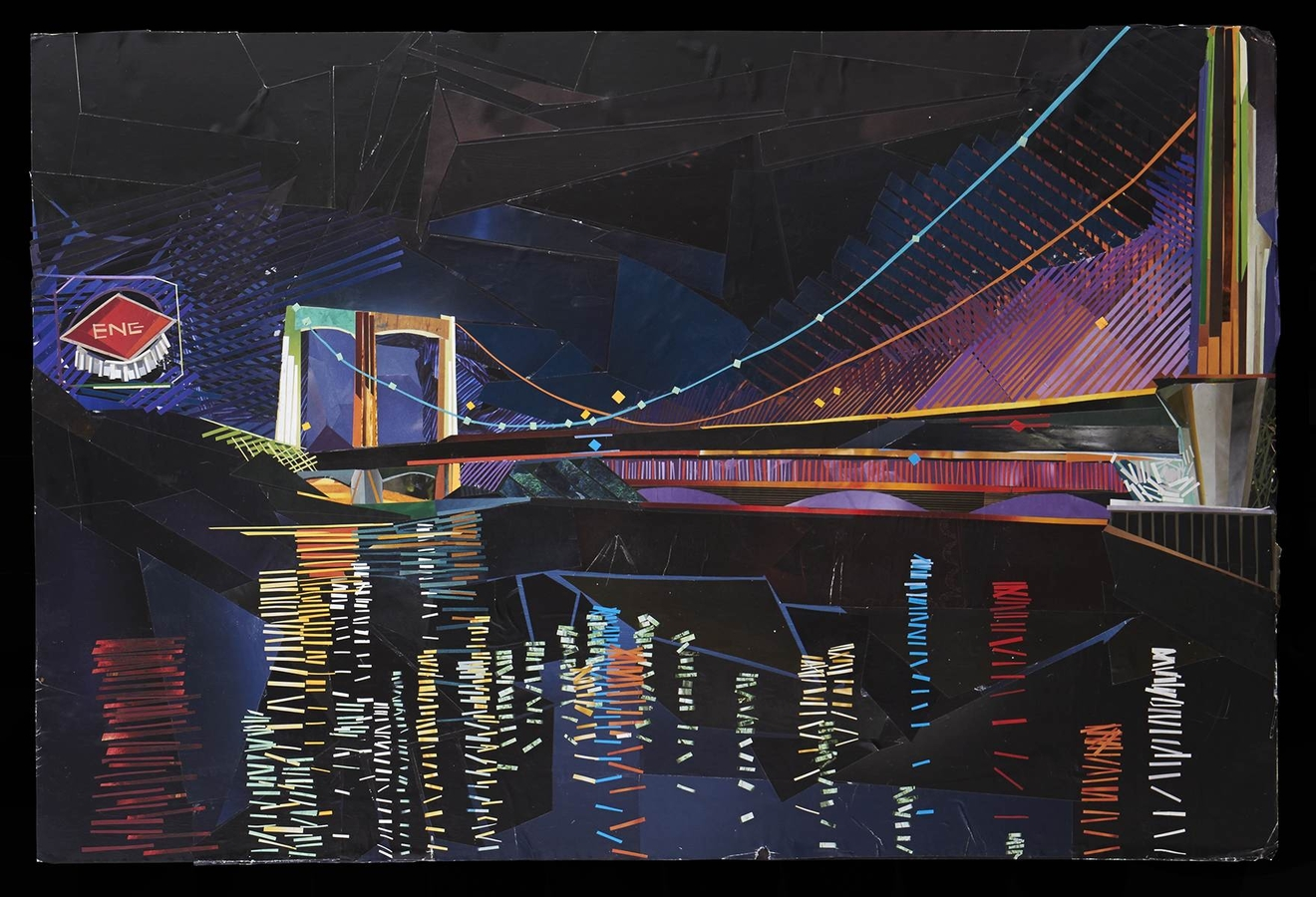 Digital Files of Artists Laura Eng, Night Bridge, 20x30, Cut Paper, 2013