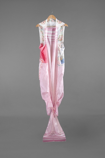 Digital Files of Artists Ashley Ernest, The SweetHeart, 5' x 3', Vintage and Repurposed Silk, Cotton, Mixed Materials, Scarfs, Domestic Materials, and Hanger, 2011