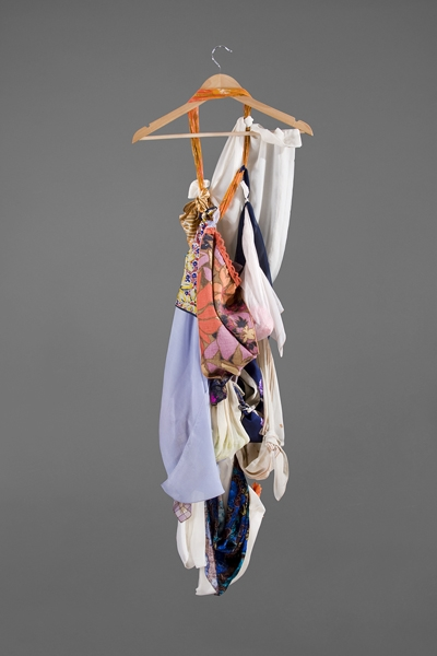 Digital Files of Artists Ashley Ernest, The Romantic, 5' x 3', Vintage/Repurposed Silk, Cotton, Mixed Materials, Scarfs, Fabric, and Other Domestic Textiles, and Hanger, 2011