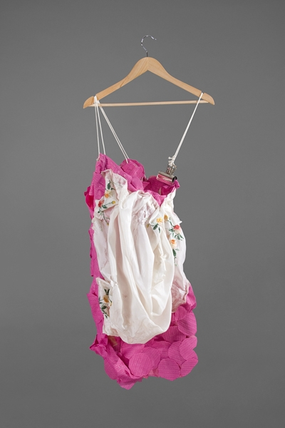 Digital Files of Artists Ashley Ernest, The Deconstruct-er, 5' x 3', Plastic Mats, Vintage Silk Scarf, Cotton Rope, Industrial Metal Clip, and Hanger, 2011