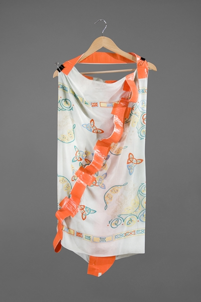 Digital Files of Artists Ashley Ernest, Working Girl, 5' x 3', Vintage/Repurposed Silk Scarf, Duct Tape, Industrial Clips, and Hanger, 2011