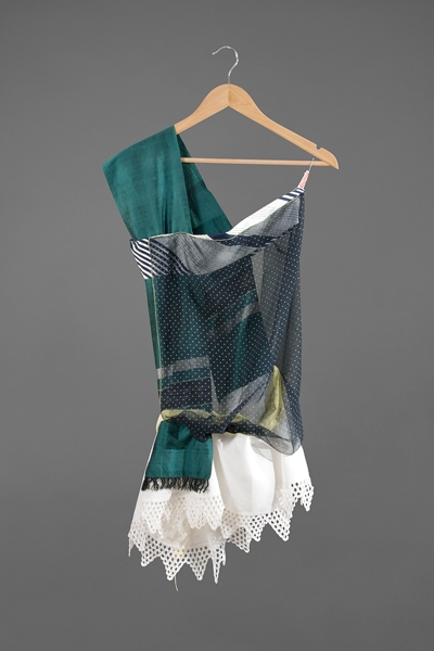 Digital Files of Artists Ashley Ernest, The Academic, 5' x 3', Vintage/Repurposed Cotton, Taffeta, Silk, and Domestic Materials and Scarves, and Hanger, 2011