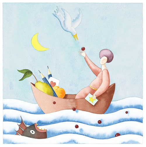 Digital Files of Artists PAUL ROOMS, HAPPY SAILING, 12X12, PAPER/WATERCOLOR, 2013