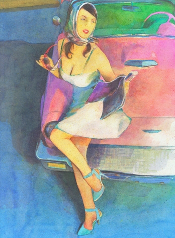 "Digital Files of Artists Ronnie Cramer, Pink T-Bird, 24x18"", watercolor, 2013"