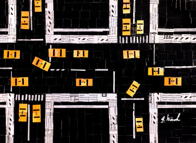 "Digital Files of Artists Nina Boesch, Cabs from Above, 8""x10"", cut-up MetroCards, 2013"