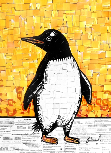 "Digital Files of Artists Nina Boesch, Penguin, 8""x12"", cut-up MetroCards, 2013"