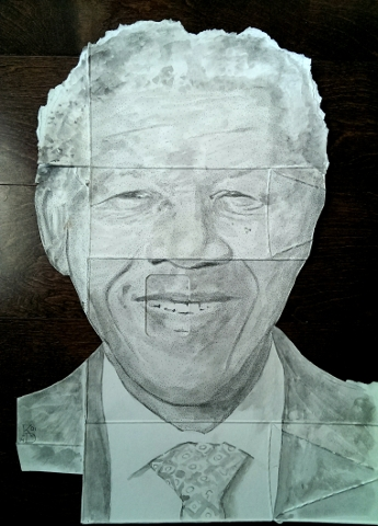 Digital Files of Artists Kenney Dao, Nelson Mandela, 16in x 12in, Cardboard Watercolor Ink, 2014