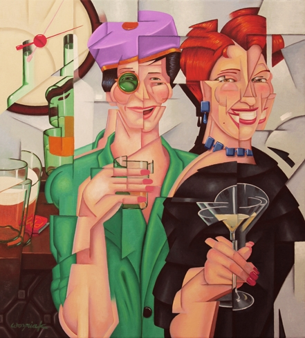 "Digital Files of Artists Harry Wozniak, Happy Hour, 20""x18"", oil on linen, 2014"