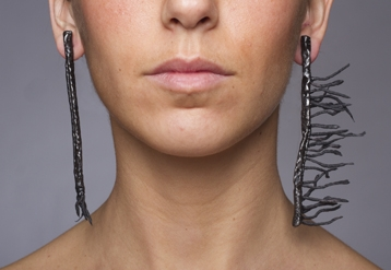 Digital Files of Artists Jolynn Santiago - Untitled: Earrings (Detail) - Size varies - Steel, crepe paper, plastic dip - 2013