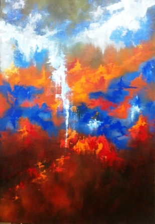 Digital Files of Artists Mercedes Echeverría, Atardecer, 100cmx70cm, Acrylic, 2013
