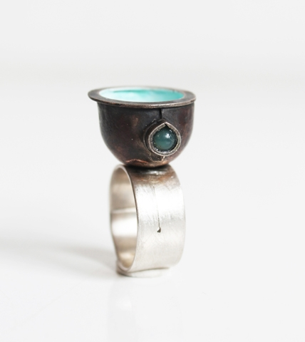 "Digital Files of Artists Petra Podnarcuk ; ""back entrance to the blacksmith's"" _ ring : 2cm * 3 cm ; silver, copper, metal color, jade ; 2014"