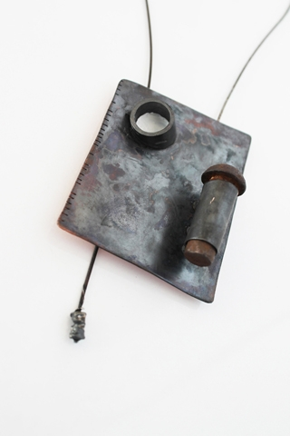 "Digital Files of Artists Petra Podnarcuk ; ""back entrance to the blacksmith's"" _ necklace : 5cm (width) * 31 cm (height) ; copper, metal color, found object, silver, steel ; 2014"