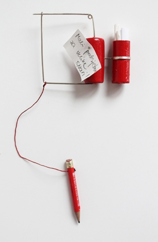 "Digital Files of Artists Petra Podnarcuk ; ""little reminder for the great things"" _ brooch ; 7 cm (width) * 17 cm (height) ; thread, pencil, silver, paper, cork ; 2013"