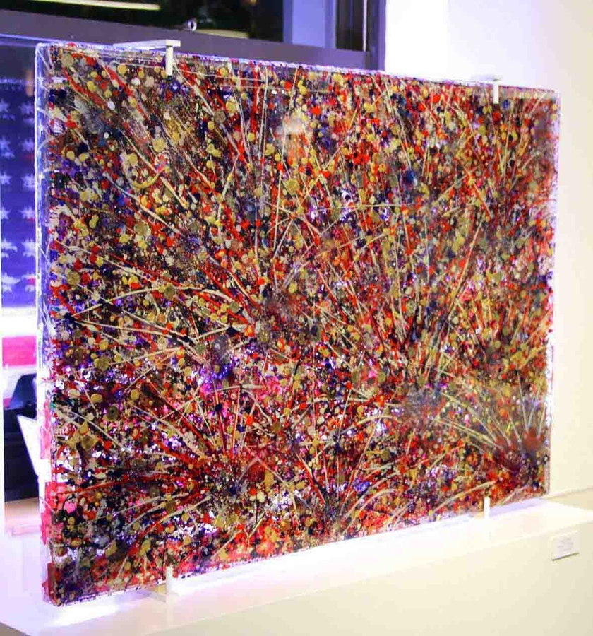"Digital Files of Artists Ethan Williams, ""Polarity"", 55"" x 40"" x 3"", weight = 265 lbs., two-sided coded epoxy glass piece with oil/acrylic/mixed media, 2013"