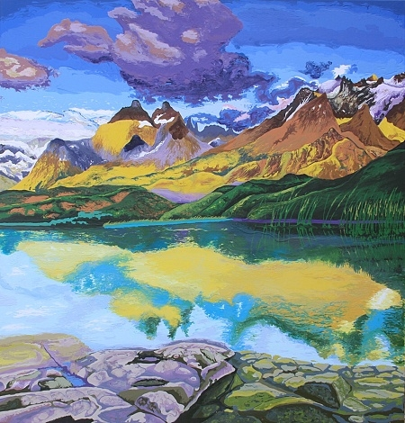 "Digital Files of Artists Nataliya Scheib, Landscape in Chile, 48"" x 46"", Oil on Canvas, 2013"