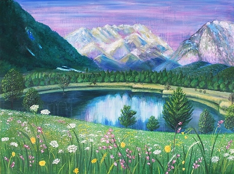"Digital Files of Artists Nataliya Scheib, Summer Morning, 36"" x 48"", Oil on Canvas, 2013"
