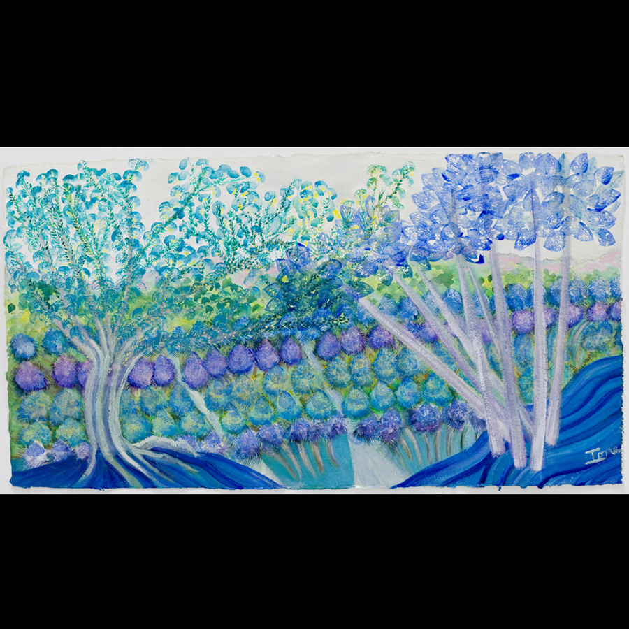 "Digital Files of Artists Ione Citrin, Field of Dreams, 20"" high x 38"" wide, watercolor 2010"