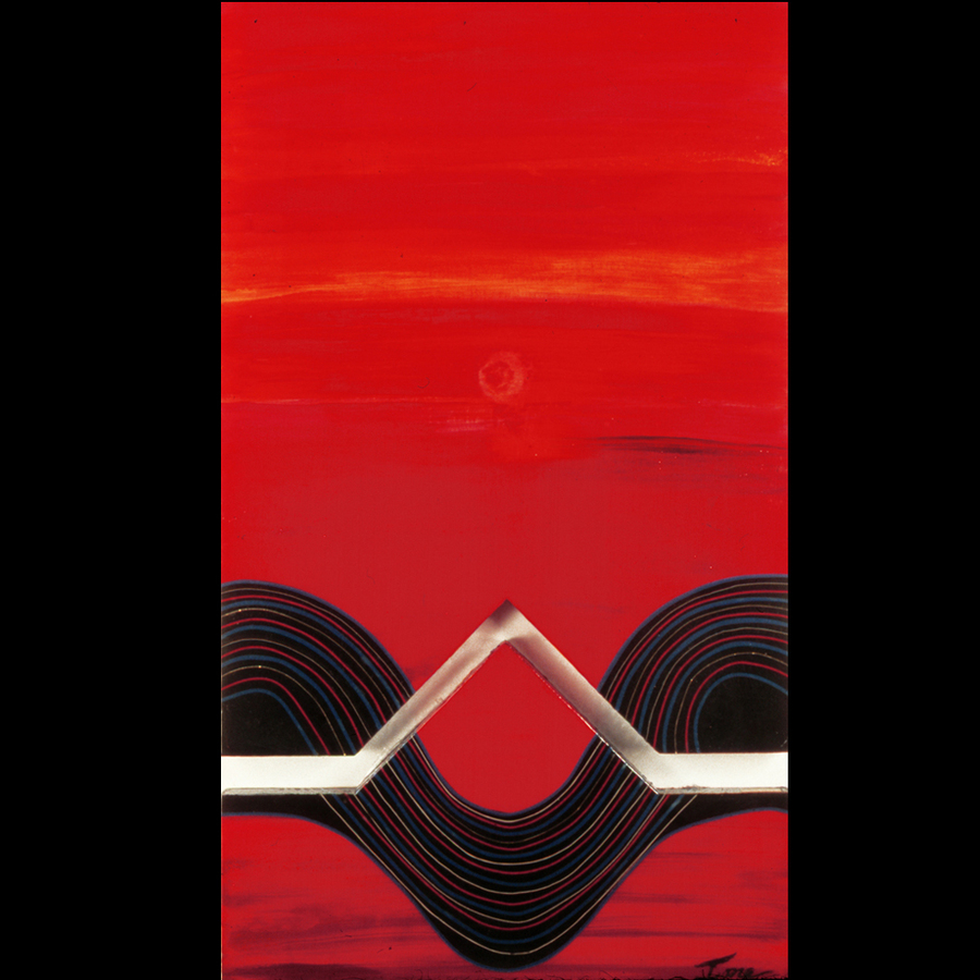 "Digital Files of Artists Ione Citrin, No Sunset in Hell, 50"" high x 40"" wide, acrylic on wood diptych 2003"