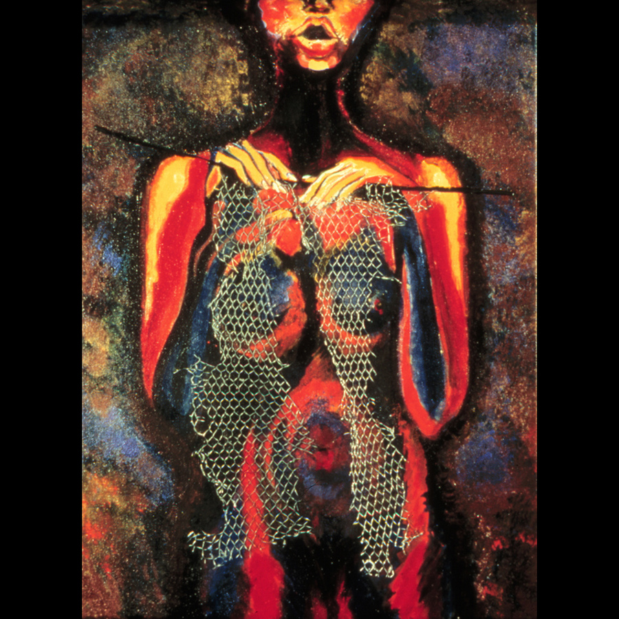 "Digital Files of Artists Ione Citrin, The Knitter, 24"" high x 16"" wide, acrylic and steel mesh, oil on canvas 2002"