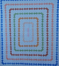Garvey Rita  Art & Antiques 1930's Blue Bowties Antique Quilt  Cotton cloth